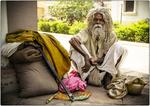 Hindu Holy Man Outside Temple