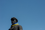 Lenin Draped Wiith Ukrainian Flag
