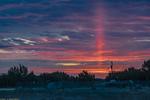 Rare Sun Pillar At Dawn