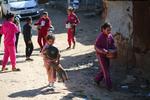 Palestinian Children Wait to Get Free Food